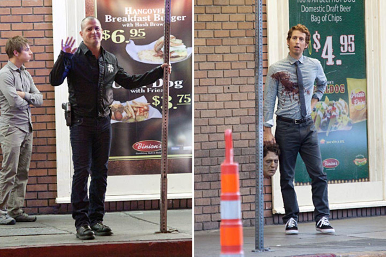"""17. Oktober 2012: Tatortermittlungen bei """"CSI Las Vegas"""": George Eads bereitet sich auf seinen Einsatz vor und das Opfer hält gl"""