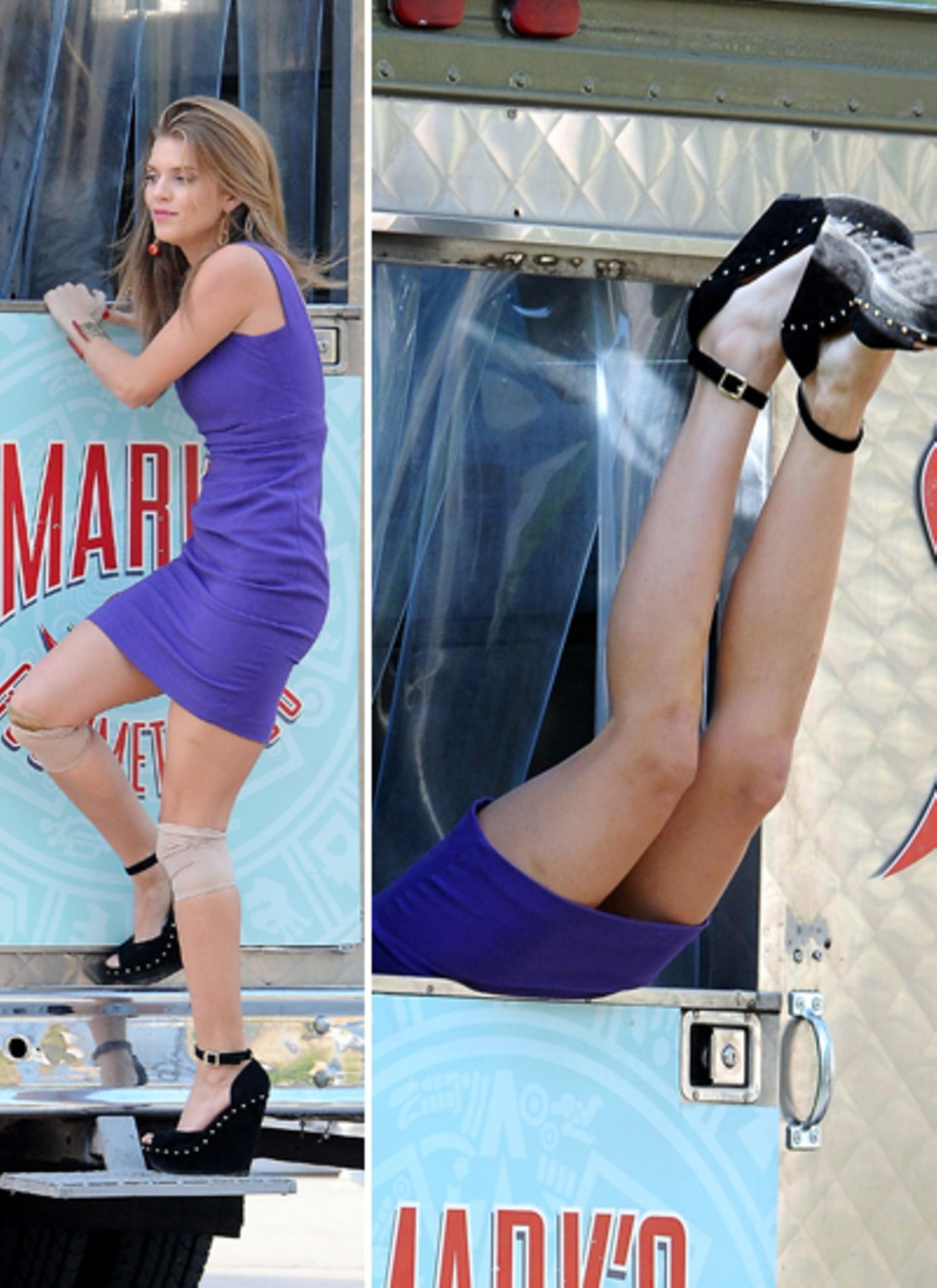 """27. November 2012: So sehen Actionszenen bei """"90210"""" aus: Gerade steht Annalynne McCord noch vor einem Lieferwagen. Und schwupps"""
