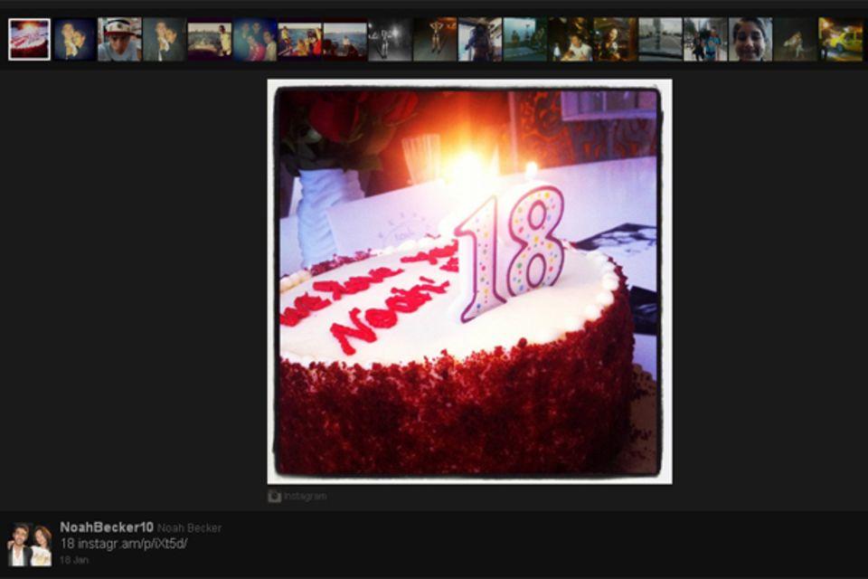 """Noah Becker wird volljährig. Zu seinem 18. Geburtstag bekommt eine große Torte: """"We love you Noah""""."""