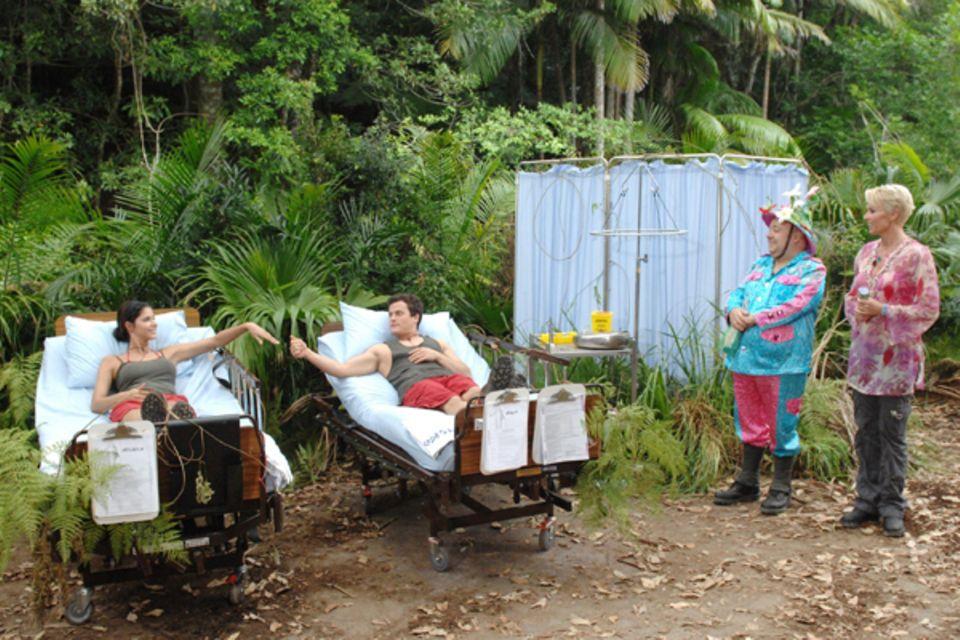 Zur ersten Dschungelprüfung 2012 treten Micaela Schäfer und Rocco Stark an.