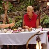 Rocco, Brigitte und Kim genießen im Camp ein leckeres Essen und stoßen auf ihren letzten gemeinsamen Abend im Dschungel an.