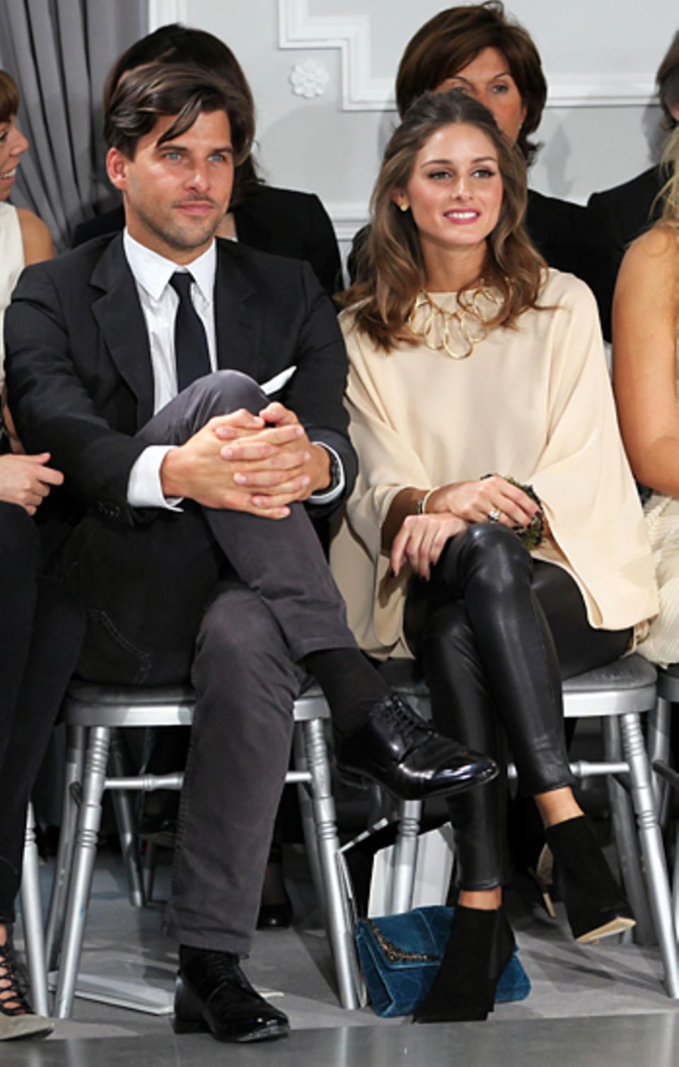 Paris Haute Couture: Johannes Huebl und Olivia Palermo haben beste Sicht auf die Dior-Kollektion.
