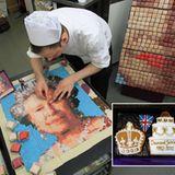 """Jetzt wird es süß! Die Zuckerbäcker der Stadt backen """"Diamond Jubilee""""-Plätzchen und basteln ein Mosaikportrait der Queen aus kl"""
