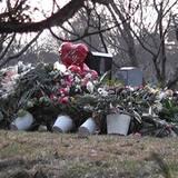 Ein Meer vor Blumen säumt das Grab der Sängerin.