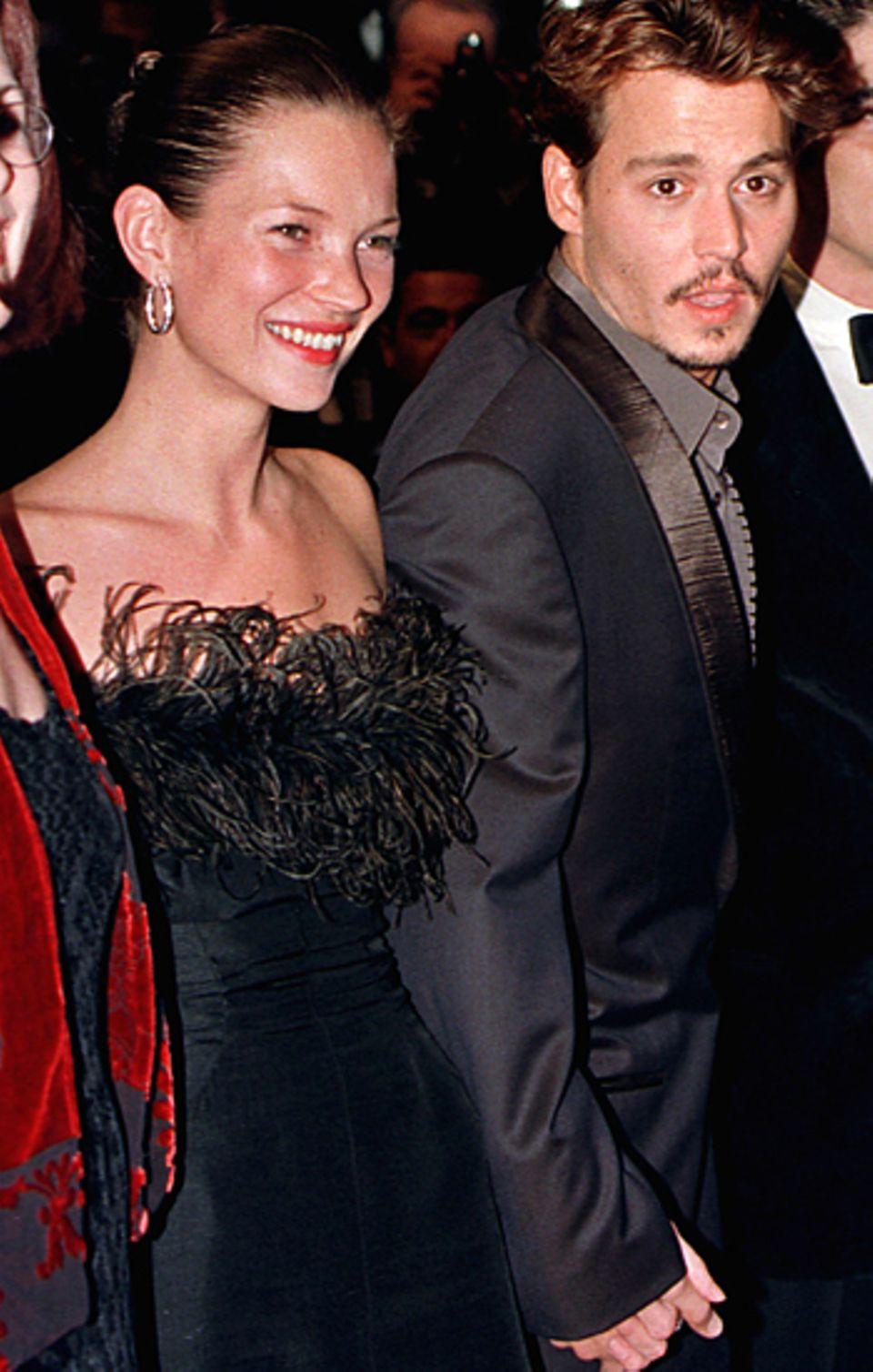 """Kate Moss und Johnny Depp: Depp hatte schon immer eine Vorliebe für Models: Bevor er in Vanessa Paradie seine """"Seelenverwandte"""""""