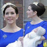 Zur Taufe ihrer Zwillinge Vincent und Josephine trägt Mary eine sehr elegante, stark toupierte Hochsteckfrisur. Der cremefarbene