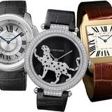 """Louis Cartier entwickelte für einen Freund, den Flieger Albertos Santos Dumont, 1904 die erste Armbanduhr, eine """"Santos"""" (r.). D"""