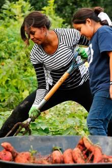 First Lady Michelle Obama erntet mit einer Schulklasse Gemüse aus dem Garten des Weißen Hauses.