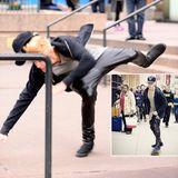 auch ein Weltstar packt sich mal ab.  Eben noch skatet Justin Bieber lässig durch die Straßen von New York und nur eine kleine Unaufmerksamkeit führt zum Fall.