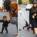 Klein-North ist so aufgeregt, weil sie mit Mama und ein paar Freunden in den Spielzeugladen darf, dass ihre Füße gar nicht so schnell hinterherkommen. Kim Kardashian scheint derweil gar nicht zu merken, wie ihre Tochter stürzt. Sieht zumindest so aus, als hätte es wehgetan.