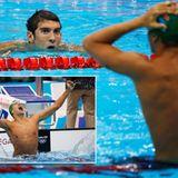 Der Südafrikaner Chad le Clos kann es kaum fassen: Er hat US-Schwimmstar Michael Phelps in letzter Sekunde besiegt.