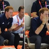 ... Vielleicht gilt der Spott ja Prinz Harry, der die britischen Schwimmer vergebens anfeuert.