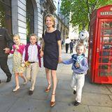 Die belgische Prinzenfamilie, Prinz Philipp und Prinzessin Mathilde und ihre Kinder Elisabeth, Emmanuel und Gabriel, besuchen Lo