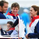 Herzogin Catherine trifft Goldmedaillengewinner Ben Ainsley im Hafen von Weymouth. Anschleißend geht es mit dem Briten aufs Wass