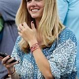 Das Model Brooklyn Decker feuert ihren Mann US-Tennisprofi Andy Roddick auf dem Platz an.