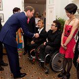 """Am Abend findet ein Empfang in der """"Eden Hall"""" statt, wo Prinz William Teilnehmer der diesjährigen Paralympics in London trifft."""