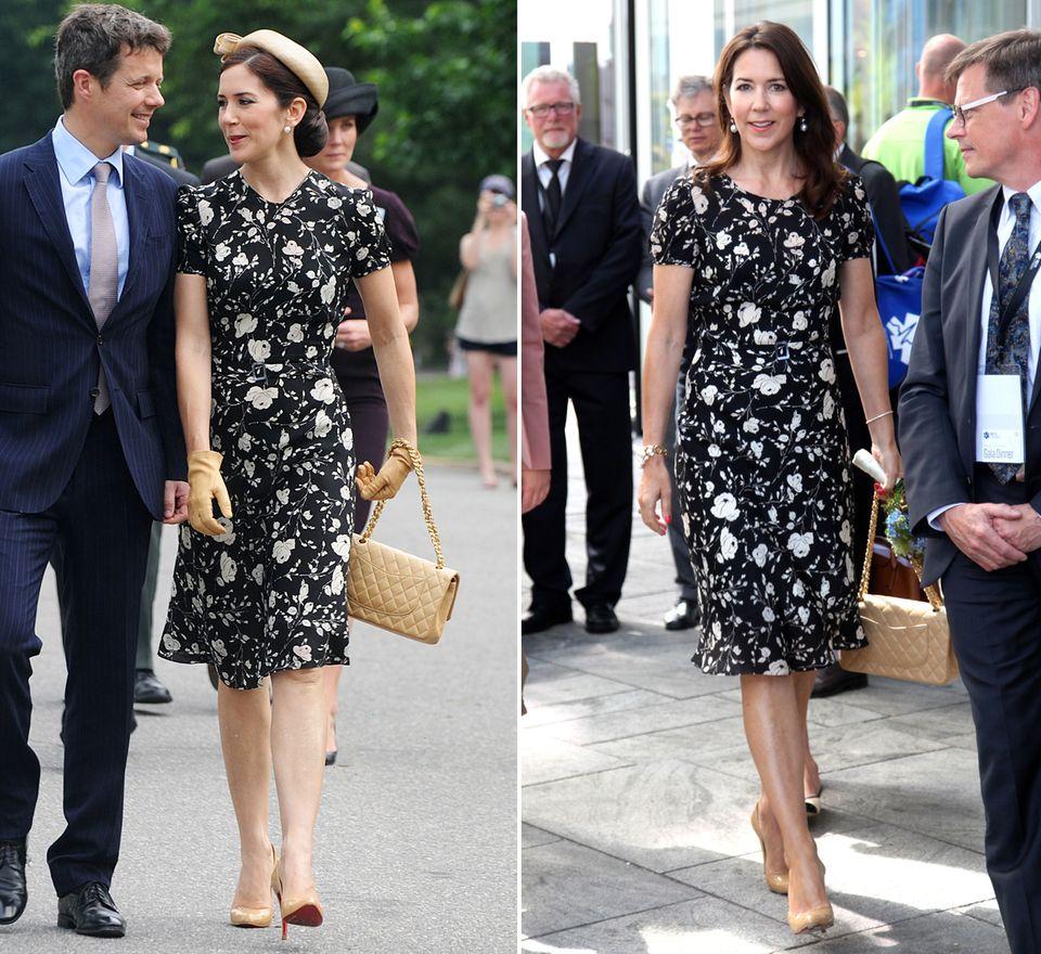 Bei einem Staatsbesuch in Amerika 2010 (links) trug Kronprinzessin Mary von Dänemark erstmals ihr schwarzes Blumenkleid von Ralph Lauren. Ende Mai 2016 (rechts) versprühte die gebürtige Australierin erneut Sommerlaune in dem eleganten Outfit.