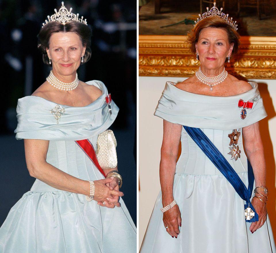Königin Sonja von Norwegen hat sich auf ihr stattliches, cremefarbenes Seidenkleid mit dem gerafften Rockteil besonnen und es jetzt zum Staatsbankett in Helsinki aus ihrem royalen Kleiderschrank geholt. Das Bild rechts zeigt sie als sie das taillierte Kleid vor rund 20 Jahren im Sommer 1997 getragen hat.