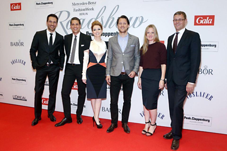 Gruppenbild: Alexander Mazza, ... Hendrijke Kopp, GALA-Chefreporter Hauke Herffs, Mode-Expertin Marlene Soerensen und ...