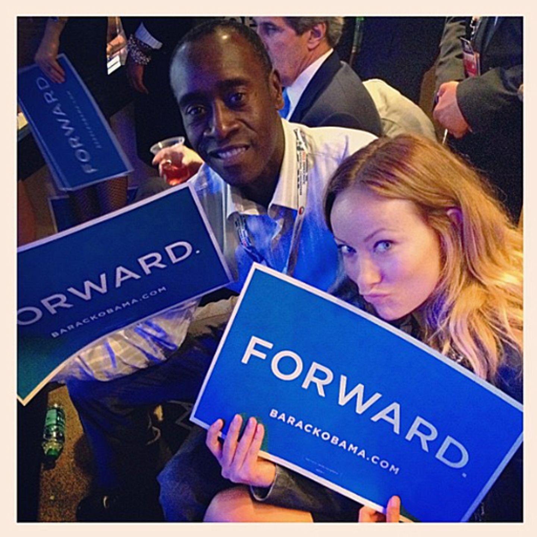 Jared Leto selbst hat dieses Foto auf dem Parteitag der Demokraten in Charlotte aufgenommen. Olivia Wilde und Don Cheadle zeigen