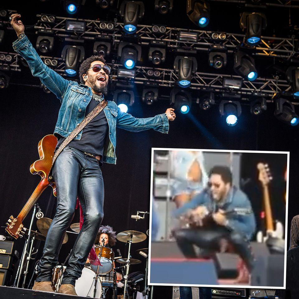 """War das peinlich! Das Konzert-Video der gerissenen Lederhose von Lenny Kravitz ist mittlerweile ein richtiger Renner im Netz. Lenny selbst nimmt sein """"#Penisgate"""" mit Humor. Warum auch nicht."""