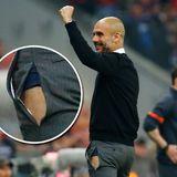 """Auch Bayern-Trainer Pep Guardiola platzen mal die Nähte. Beim 6:1-Sieg gegen den FC Porto jubelte dieser so heftig, dass der feine Zwirn am Bein nachgab und eine schicke blaue Boxershorts hervorblitzte. Auf Twitter führte das dann zu ziemlich amüsanter Häme und erstaunlichen Wortschöpfungen wie """"Jubelfaserriss""""."""