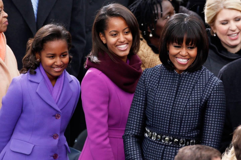 Sasha, Malia und Michelle Obama wählten farblich aufeinander abgestimmte Outfits.