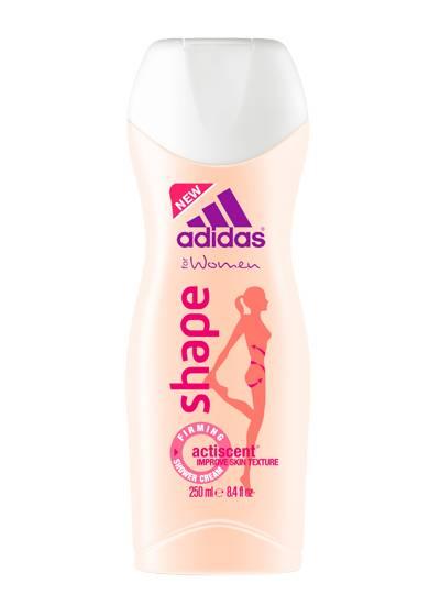 """Wasser marsch!  Straffendes """"Shape""""-Duschgel mit Pfirsich- und Pfefferaromen. Von Adidas, 250 ml, ca. 3 Euro"""