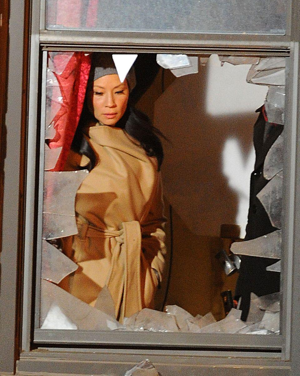 """23. Januar 2013: Lucy Liu steht für """"Elementary"""" vor der Kamera."""