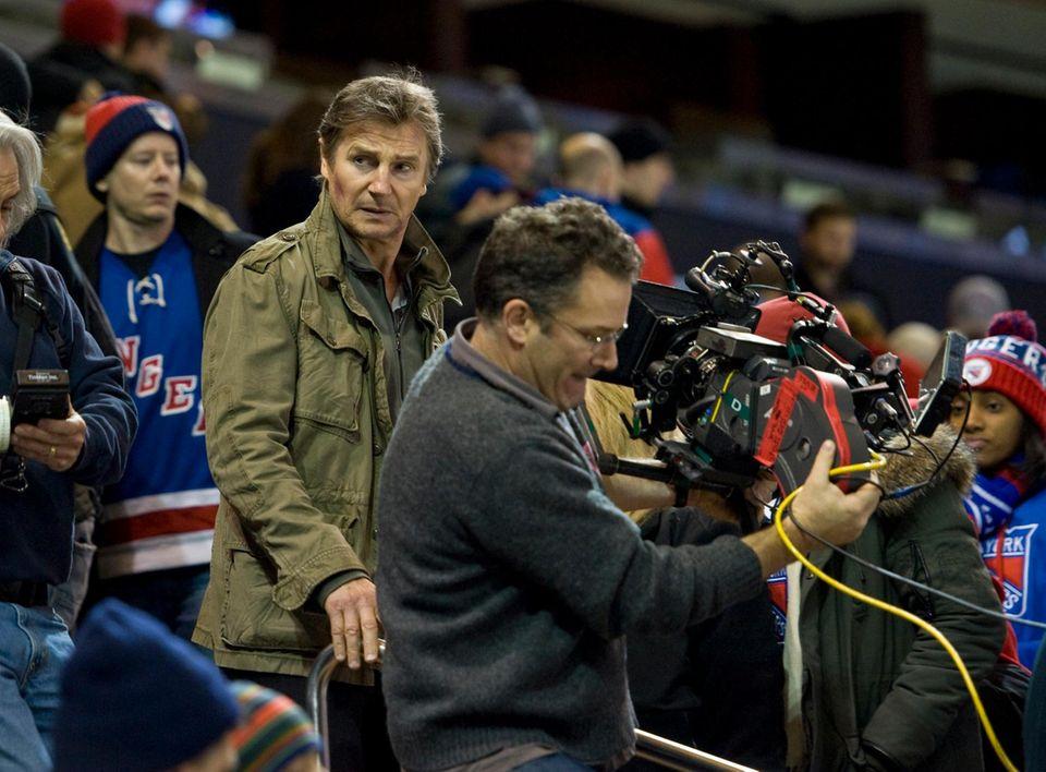 "21. November 2013: Liam Neeson dreht im New Yorker Madison Square Garden das Drama ""Run All Night""."