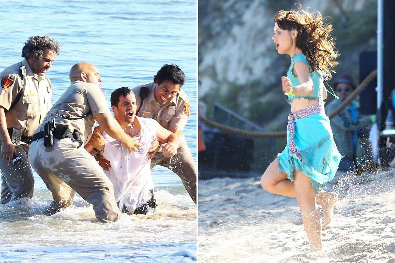 """6. August 2013: Am Set zu """"New Girl"""" geht es für Jake Johnson und Zooey Deschanel hoch her."""