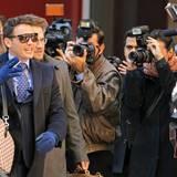 """12. Oktober 2013: James Franco und Seth Rogen stehen für den Film """"The Interview"""" über einen Talkshow-Moderator und seinen Produzenten vor der Kamera."""