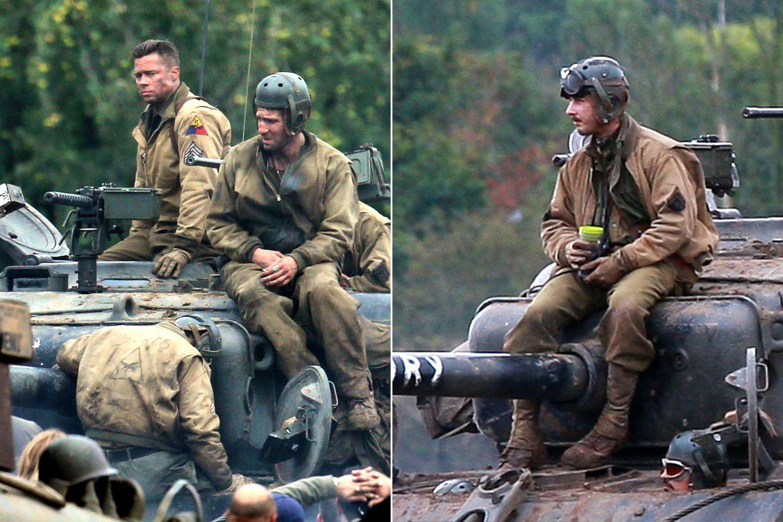 """4. Oktober 2013: Brad Pitt und Shia LaBeouf sitzen bei Dreharbeiten zum Film 'Fury"""" in Oxfordshire auf Panzern."""