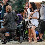 """17. Juli 2103: Lucy Liu dreht für die Serie """"Elementary"""" im New Yorker Washington Square Park eine Kampfszene."""