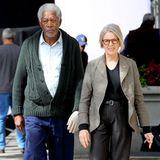 """14. Oktober 2013: Morgan Freeman und Diane Keaton stehen gemeinsam für den Film """"Life Itself"""" in New York vor der Kamera."""