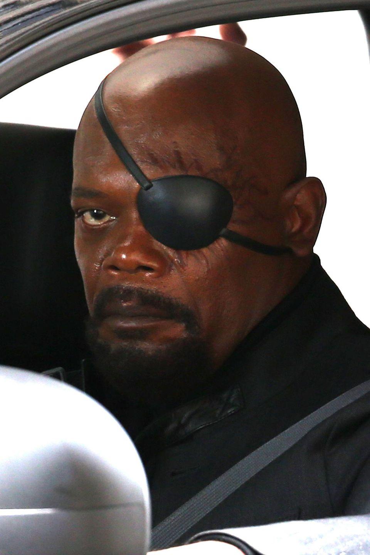 """22. Mai 2013: Samuel L. Jackson spielt einen ziemlich lädierten Bösewicht in """"Captain America 2: Winter Soldier"""". Der Film wird gerade in Ohio gedreht."""