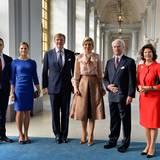 14. Oktober 2013: Prinz Daniel, Prinzessin Victoria, König Willem-Alexander, Königin Máxima, Königin Silvia und König Carl Gustaf gehen zum gemeinsamen Mittagessen im Stockholmer Königspalast.