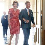 8. Juli 2013: Prinzessin Mathilde und Prinz Philippe kommen zu Ehren von König Albert zu einem Empfang in den Königspalast nach Brüssel. Albert feiert sein 20-jähriges Thronjubiläum.
