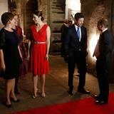 13. November 2013: Prinzessin Mary und Prinz Frederik empfangen auf einem Galadinner in Mexico City Dänemarks Gesundheitsministerin Astrid Krag und die dänische Botschafterin in Mexiko Susanne Rumohr Haekkerup.