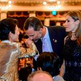 """6. September 2013: Prinz Felipe und Prinzessin Letizia von Spanien treffen auf der Eröffnungszeremonie des """"125th International Olympic Committee (IOC)"""" im brasilianischen Bueno Aires Prinzessin Takamado aus Japan."""