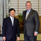 1. Oktober 2013: Japans Kronprinz Naruhito empfängt Prinz Andrew im Togu Palast in Tokio.