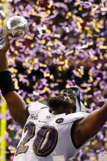 """Die """"Baltimore Ravens"""" dürfen jubeln, sie gewinnen das Spiel."""