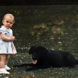 Schon ganz früh zeigt die kleine Prinzessin ihr Herz für Tiere und weicht dem Familienhund nicht von der Seite.