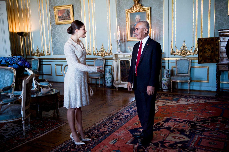 9. März 2015: Prinzessin Victoria begrüßt in Stockholm den Präsidenten von Kiribati, Anote Tong.