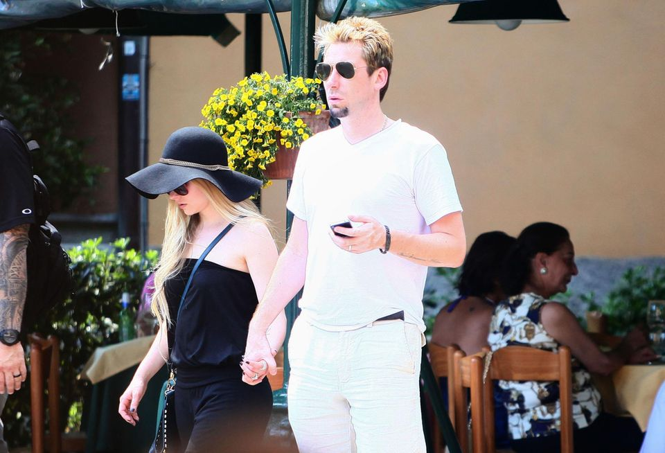 8. Juli 2013: Avril Lavigne und Chad Kroeger flittern in Portofino. Die beiden Rockstars haben am 1. Juli geheiratet.