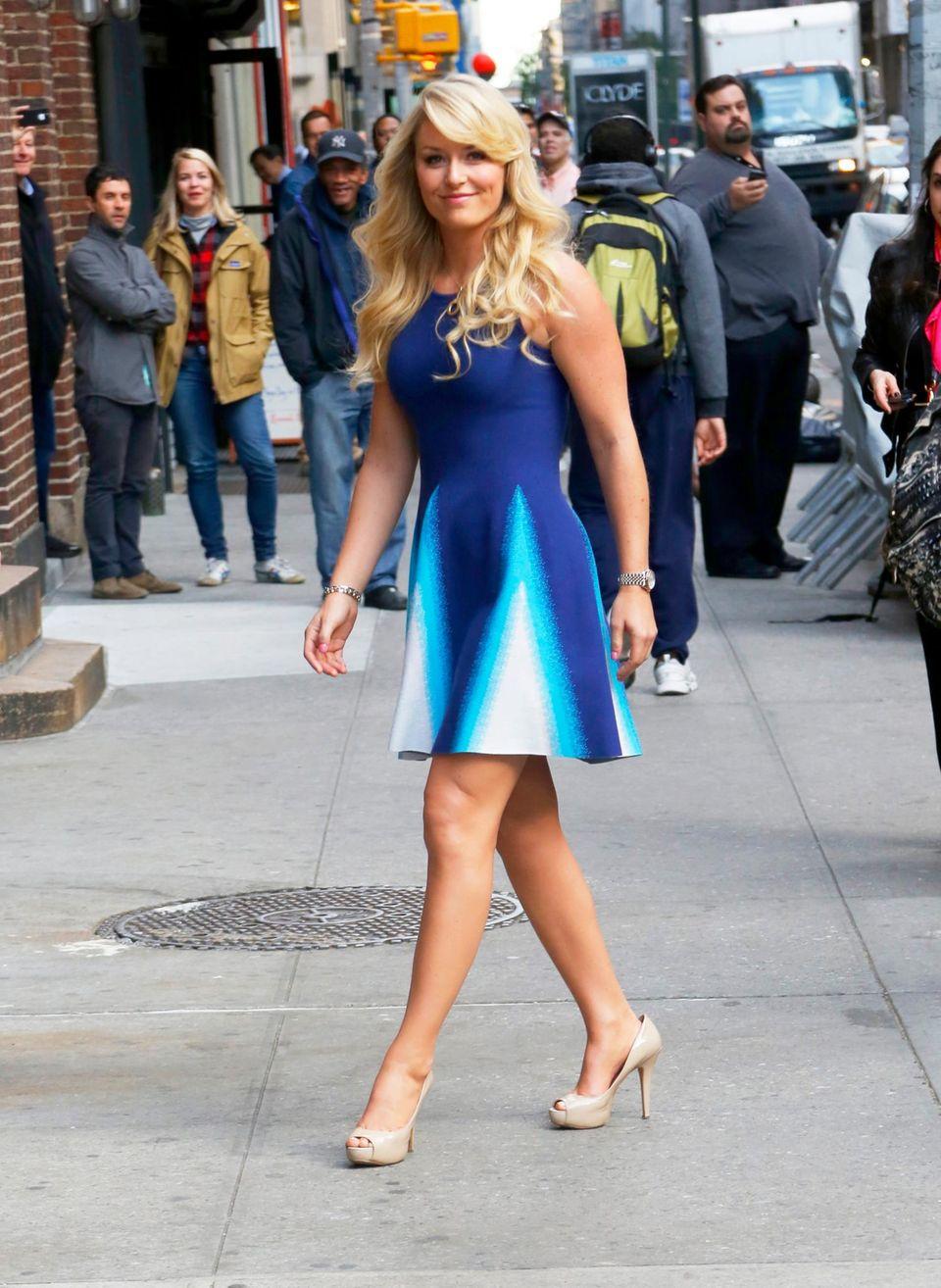 """28. Oktober 2013: Lindsey Vonn ist auf dem Weg zur """"Late Show with David Letterman"""" in New York."""
