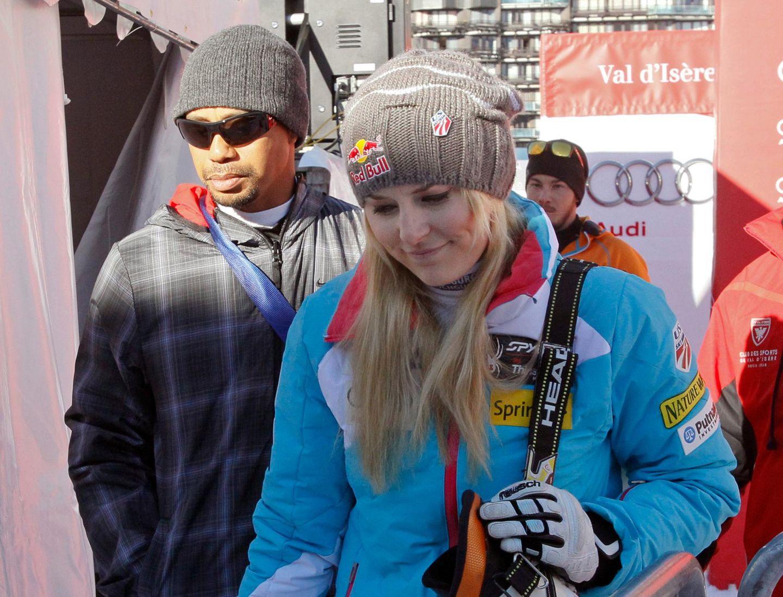 21. Dezember 2013: Tiger Woods begleitet seine Freundin Lindsey Vonn zu der Weltcup-Abfahrt von Val d'Isère.