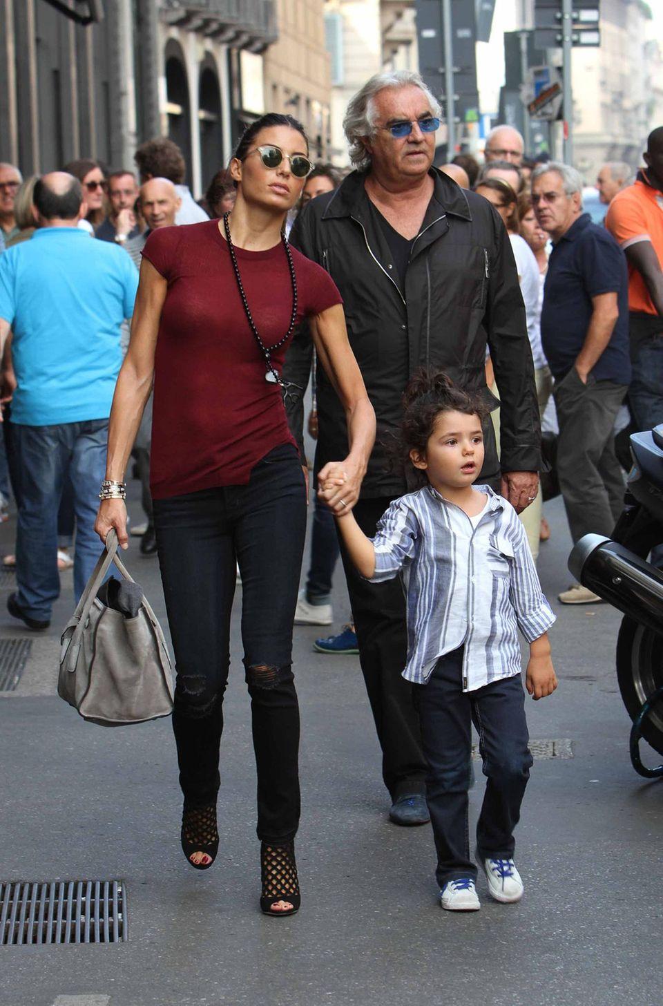 21. September 2013: Flavio Briatore geht mit Ehefrau Elisabetta Gregoraci und Sohn Falco Nathan in Mailand shoppen.