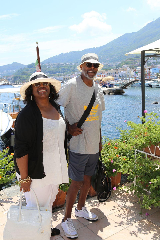 """14. Juli 2013: Samuel L. Jackson und seine Frau LaTanya Richardson sind nach Ischia gereist. Dort steht der Besuch des """"Film and Mucis Festivals"""" auf dem Programm."""