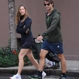8. Oktober 2013: Hilary Swank und ihr Freund, der Immobilienmakler Laurent Fleury, sind in New York auf dem Weg zum Tennis.